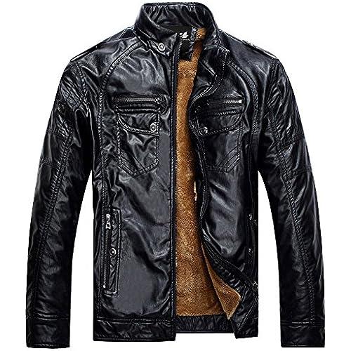 Zicac 재킷 아우터 웨어 코트 따뜻하 뒤 기모긴 소매 PU레더 비지니스 재킷 4색 패션 맨즈・보이의 재킷-