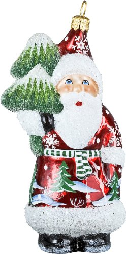 Ino Schaller Blown Glass Polish Preiselberre Red Jolly Santa Ornament by Joy to the World Collectibles