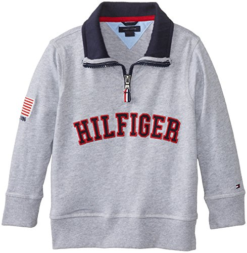 Tommy Hilfiger Little Boys' 1/4 Zip Fleece, Grey Heather, 05 Regular