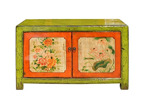 Chinese Lime Green Orange Flower Side Table Cabinet Acs1346 1