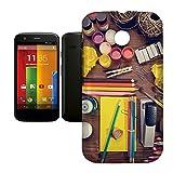Phone Case For Motorola Moto E - Art Supplies Back Wrap-Around