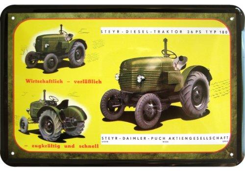 steyr-daimler-puch-180-tipo-26-ps-diesel-trattore-pubblicita-replica-in-latta
