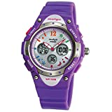 New Arrival PAS Kids Teenage Girls Dual Time Colorful Dial Waterproof 100m Sports Casual Wrist Watches with Bling Bling Moon Star Pattern Purple