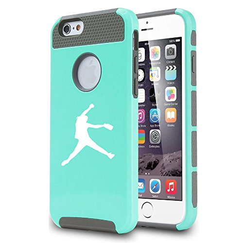 Apple iPhone 5c Shockproof Impact Hard Case Cover Female Softball Pitcher (Teal) (Iphone 5c Case Softball Pitcher compare prices)