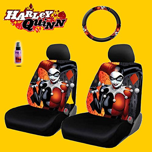 New Design 6 Pieces DC Comic Harley Quinn Car Seat Covers and Steering Wheel Cover Set with Travel Size Purple Slice (Car Seat Covers Harley Quinn compare prices)
