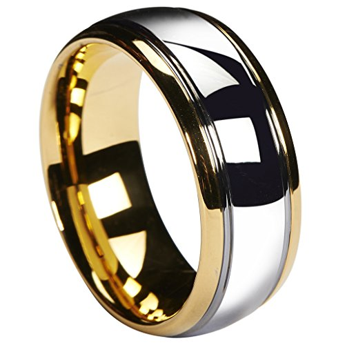 Queenwish 8mm Tungsten Carbide Wedding Band Gold Silver Dome Gunmetal Bridal Ring Men Jewelry Size 9.5