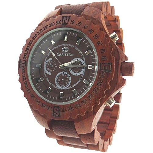 Hopcentury Wooden Watch Red Case And Band Quartz Movement Wrist Watch With Date Calendar And 3 Decorative Small Dial back-467019