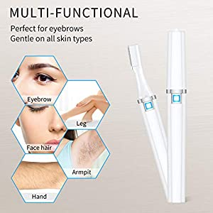 Rechargeable Eyebrow Hair Trimmer for Women, Painless Portable Eyebrow Hair Removal Razor, Electric Eyebrow Hair Remover Trimmer Epilator