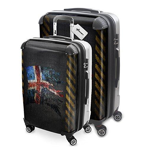 Bandiera Strappati Islanda, Set da 2 Luggage Valigia Bagaglio Ultraleggero Trasportabile Rigido 4 Route Adatto con Disegno Colorato. Dimensione: M, L