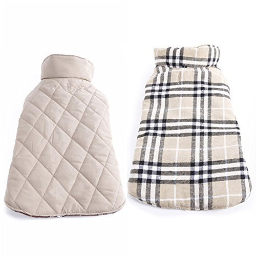 Bonawen Plaid Reversible Padded Jacket for Dog with Elastic Velcro ,for Extra Small up to Extra Large Pets (Beige,2XL) (Winter Jacket For Bulldog compare prices)