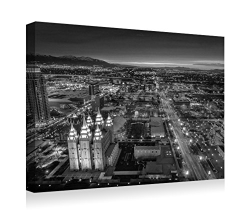 Salt Lake City- Canvas Prints Wall Art - Wood Board Background Stretched Canvas Wrap Ready to Hang for Home and Office Decoration - 20