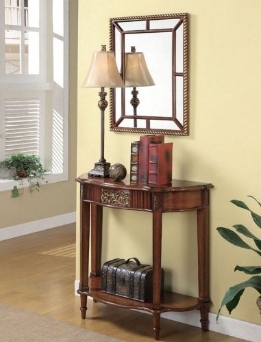 Cheap 3pc Entry Way Console Table, Mirror and lamp Set in Warm Brown Finish (VF_900155)