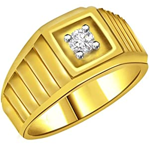 Diamond Solitaire Gold Men's Ring SDR562