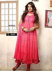 Clcikedia Women Brasso and Net Beautiful long anarkali suit (hot pink)
