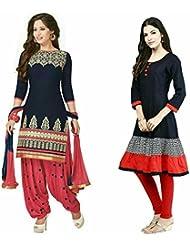 Sky Global Women's Regular Wear Dress Material And Kurti (Combo Pack Of 2)(SKY_DK_9049)(SKY_223_Blue)(SKY_7026...