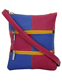 K London Small Sling Bag For Women(Multi-colour) (1302_blue_pink)