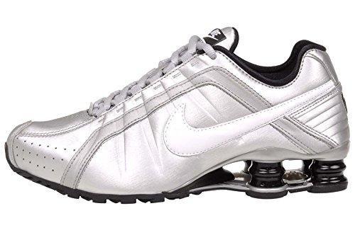 Nike Women's Shox Junior Metallic Silver/White-Black (8)