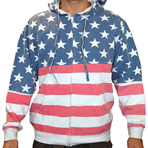 Unisex Proud American Flag Zip Up Hoodie Sweatshirt 4022 Red/White/Blue 3XL