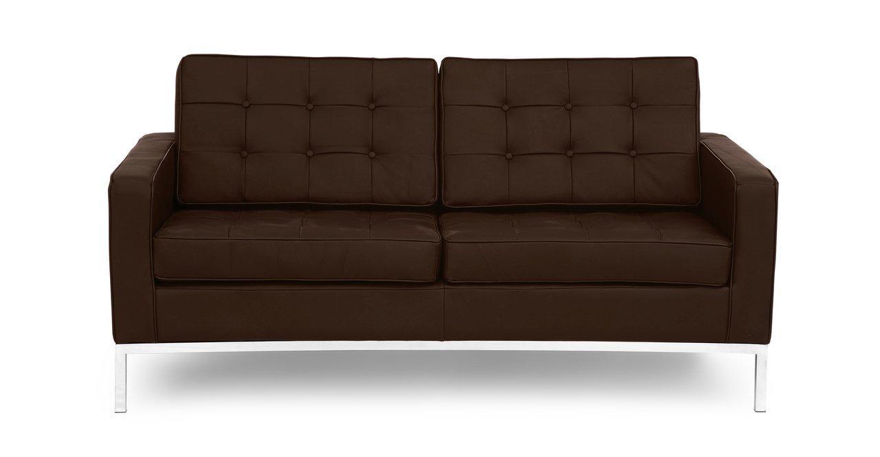 Kardiel Florence Knoll Style Loveseat - Espresso 100% Full Genuine Standard Leather