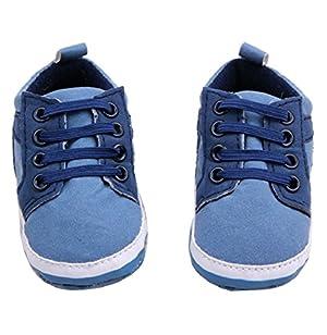 Sagton Cute Baby Toddler Unisex Soft Sole Skid-Proof Kids Infant Crib Shoes (US:4, Light Blue)