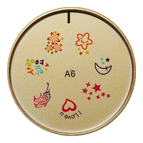 ネイルスタンプ#6 ハート,星,花,月 マニキュアを使うネイルアート ウォーターネイルシールのような仕上がり