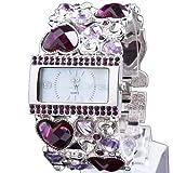 Yesurprise Fashion Luxury Women Diamond Crystal Analog Bungle Wedding Bracelet Watch Purple Crystal Silver Face