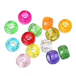 Housweety 500 Mix Rocailles Perlen Seed Beads Rund Pailletten Plastik 9mm x6mm