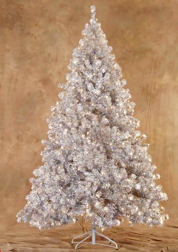 7.5′ Silver Laser Tinsel Full Artificial Christmas