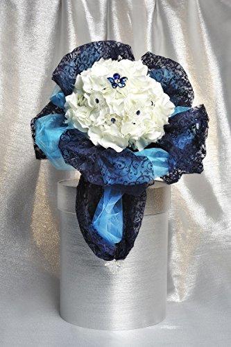 materashop.it - Bouquet per Sposa Ortensia Bianco 10 fiori Swarovski, Matrimonio,Gioiello