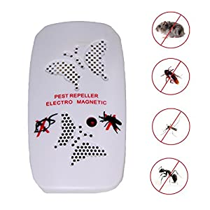 Repelente Ultrasónico para control de pestes eléctrico para insectos, roedores para uso en casa, color blanco