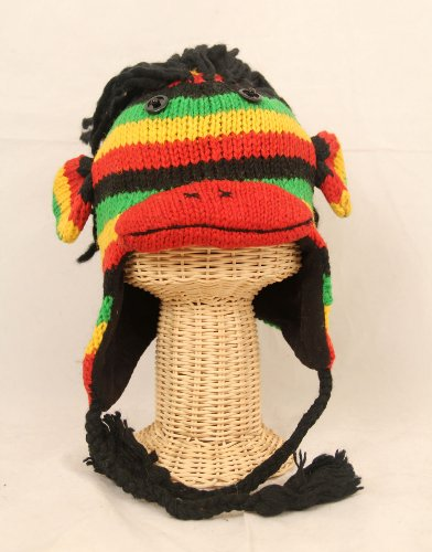 Adults Size Sock Monkey Wool Pilot Ski Cap / Hat With Fleece Lined