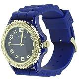 Royal Blue Geneva Silicone Ceramic Style Wrist Watch Surrounded