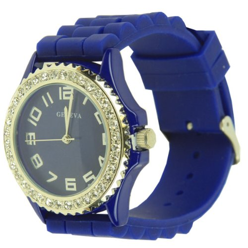 Royal Blue Geneva Silicone Ceramic Style Wrist Watch Surrounded with Silver Trim and Sparkly Rhinestones As Similar to Sandra Bullock Watch in Blind S