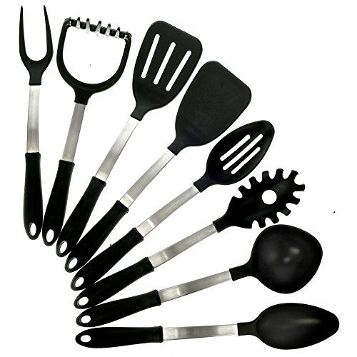KitchZen 8 Piece Stainless Steel Cooking Utensils Set, MADE IN USA (Kitchen Utensils Set Made In Usa compare prices)