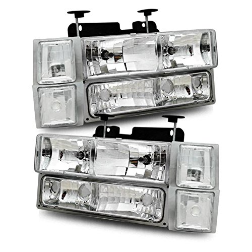 SPPC Clear Crystal Headlights Sets For Chevy Fullsize - Passenger and Driver Side (90 Chevy Silverado Headlights compare prices)