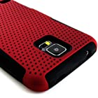 myLife (TM) Dark Rose Red and Charcoal Black - Perforated Mesh Series (2 Layer Neo Hybrid) Slim Armor Case for the NEW Galaxy S5 (5G) Smartphone by Samsung (External Rubberized Hard Shell Mesh Piece + Internal Soft Silicone Flexible Gel + Lifetime Warranty + Sealed in myLife Authorized Packaging) ADDITIONAL DETAILS: This mesh armor case was designed exclusively for the NEW Galaxy S5 by Samsung and comes with easy grip gel that allows the case to be gripped firmly in your hand yet slide easily in and out of your pocket without sticking to the lining.