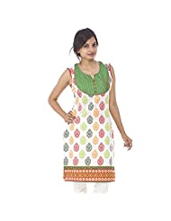 Parinita Women Green Cotton Printed Sleeveless Kurti