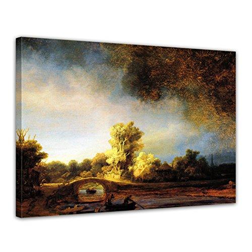 """Bilderdepot24 Leinwandbild Rembrandt - Alte Meister """"Landschaft mit Steinbrücke"""" 70x50cm - fertig gerahmt, direkt vom Hersteller"""