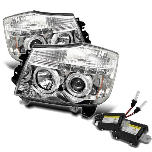 Carpart4U 6000K Xenon Hid Performance Headlights Package For Nissan Titan / Nissan Armada Halo Led ( Replaceable Leds ) Chrome Projector Headlights