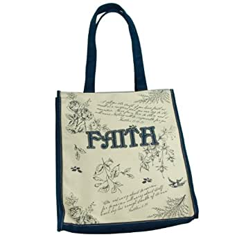 Amazon.com Navy Blue Floral Canvas Tote Bag - U0026quot;Faithu0026quot; Applique Clothing