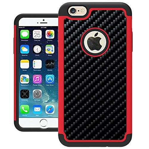 iPhone 6 Case, UrSpeedtekLive iPhone 6s Cases [Shock Absorption] Hybrid Armor Defender Protective Silicone Plastic Cover Case for iPhone 6/6s - Red (Protective Iphone 6 Case Silicone compare prices)