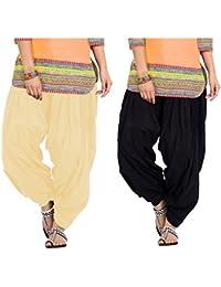 SPV Women's Salwar (SPV_0055A_Black & Beige_Free Size_Pack Of 2)