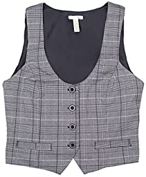 Women\'s Grey Plaid Button Up Vest Top, Large