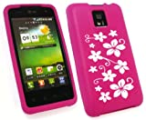 EMARTBUY LG OPTIMUS 2X P990 SILICON CASE/COVER/SKIN FLORAL HOT PINK