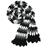 Handmade Acrylic Scarf for Teens - Crocheted 100% by Hand in Black and White II (70 inches long)