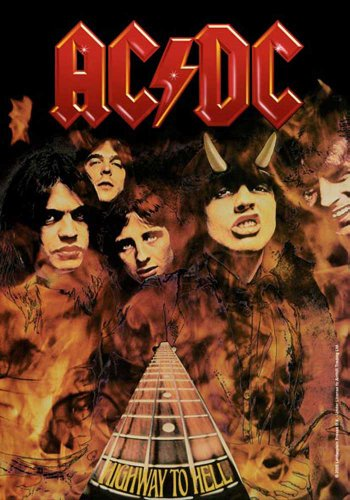 "AC/DC - Bandiera ""Highway to Hell"", dimensioni 75 x 110 cm"