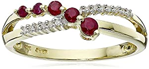 10k Yellow Gold Ruby and Diamond Journey Ring, Size 7