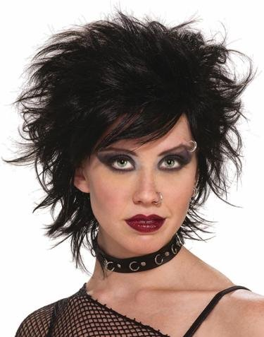 80's Punk Rock Vixen Black Costume Adult Wig