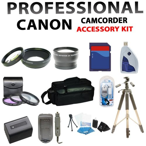 Professional Accessory Kit for Canon Visix Hf-g10 Hfg10 Hd Professional Camcorder Including 3 Lenses, 8gb Sdhc Memory Card, Extended Life Battery + Charger, Large Deluxe Case, 72inch Heavy Duty Tripod and More !!!