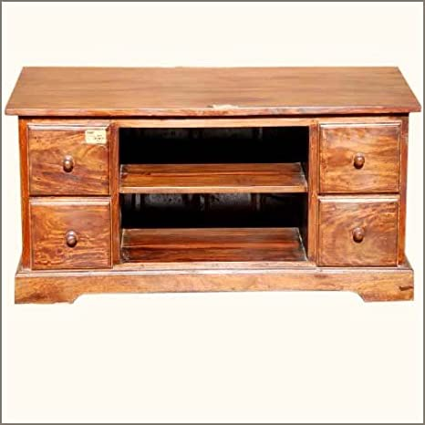 """40"""" Solid Wood Rustic Entertainment Media Console"""